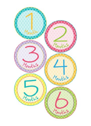 Monthly Onesie Sticker W/ Colorful Geometric Circular Patterns - Waterproof And Durable - Includes 1-12 Month Stickers For A Unique Way To Document Your Baby'S Monthly Milestones