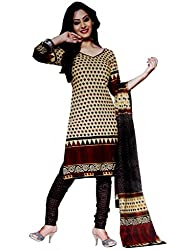 Kamal Womens Cotton Dress Material (Kam1633 -Beige And Black -Free Size)