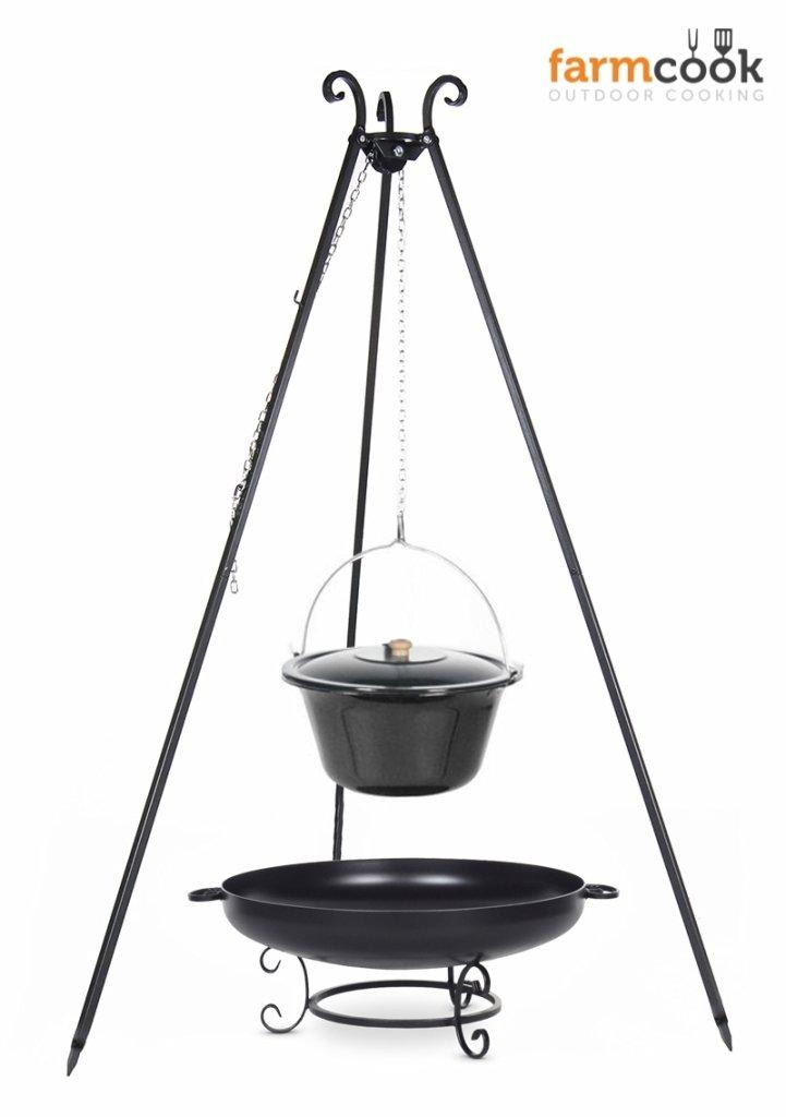 Dreibein Grill VIKING Höhe 180cm + Emaillierter Topf 14 Liter + Feuerschale Pan42 Durchmesser 60cm online bestellen