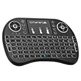 Mini Wireless TV Keyboard and Touchpad Mouse Combo with LED Backlit, 2.4Ghz USB RF Handle Control for Android TV Box, Windows PC, HTPC, IPTV, Raspberry Pi, 360, PS3, PS4, by Citynet (Round) (Color: Round)