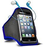 ONX3 Philips W8555 Adjustable Sports Fitness Jogging Arm Band Case & 3.5mm In Ear Earbud Base Earphones (Blue)