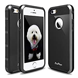 Hinpia [Seaplays] Case for Apple iPhone 5 5S SE Dual Layer Ultra Slim Bumper Cover Rugged Hybrid Shock-Absorption and Anti-Scratch Protective -Black/Black