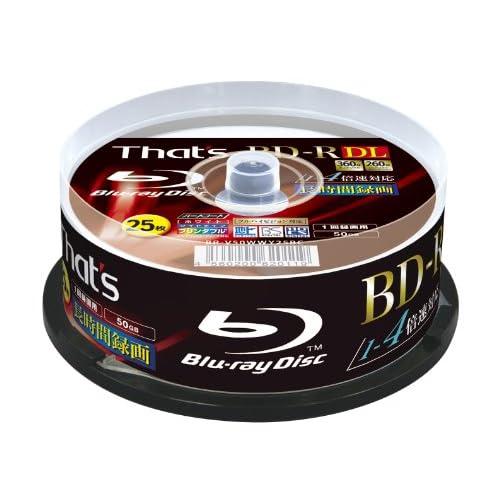 That's BD-R DL ビデオ用 1-4倍速 360分50GB 片面2層 ハードコート仕様 ワイドプリンタブル スピンドルケース25枚入 BR-V50WWY25BC