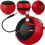 Fone-Case Verizon Ellipsis 7 Mini Capsule Rechargable Loud Speaker 3.5mm Jack To Jack Input & In Ear Earbud Earphones (Red)