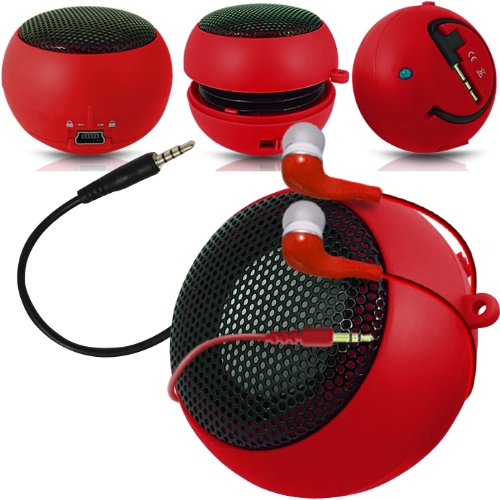 Fone-Case Verizon Ellipsis 7 Mini Capsule Rechargable Loud Speaker 3.5Mm Jack To Jack Input & In Ear Earbud Earphones (Red)