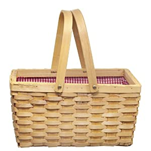 Picnic Basket With Redwhite Plaid Lining from Decorative Gifts