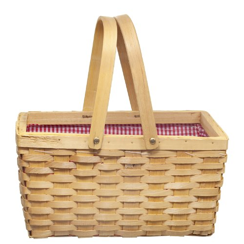 Best Price Picnic Basket with Red/white Plaid Lining