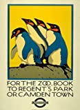 Vintage Travel ENGLAND with LONDON UNDERGROUND For the Zoo, book to Regent's Park or Camden 250gsm ART CARD Gloss A3 Reproduction Poster