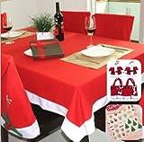 【ELEEJE】 いよいよ クリスマス ! 真っ赤 な テーブルクロス に キャンドル を 飾って 今年 は 素敵 な ホームパーティ を 演出 しませんか ( テーブルクロス 、 椅子カバー 、 カトラリーケース 、 ネイルシール の セット )