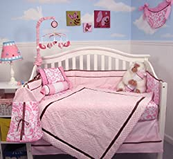 SoHo Pink Minky Chenille Roses Baby Crib Nursery Bedding Set 13 pcs included Diaper Bag with Changing Pad & Bottle Case