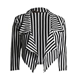 Forever Womens ¾ Sleeves Thin Stripe Waterfall Blazer