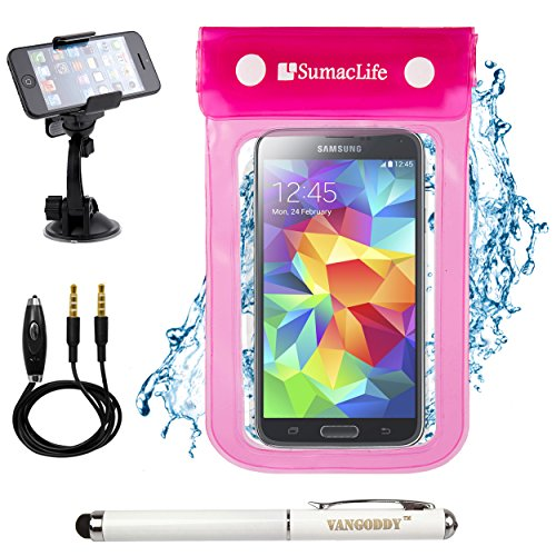 SumacLife Waterproof Bag Dry Pouch Case for LG G3 / LG G3 Vigor / LG G2 / LG Google Nexus 5 with Windshield Mount & Auxiliary, Pink (Lg G2 Windshield Mount compare prices)