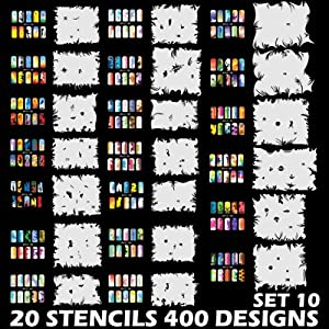 AIRBRUSH NAIL STENCIL SET # 10 PACKAGE OF 20 NAIL TEMPLATES