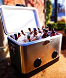 BREKX 54QT Stainless Steel Party Cooler with Crisp Bluetooth Speakers
