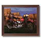Knucklehead Harley Davidson Motorcycle Home Decor Wall Picture Cherry Framed Art Print