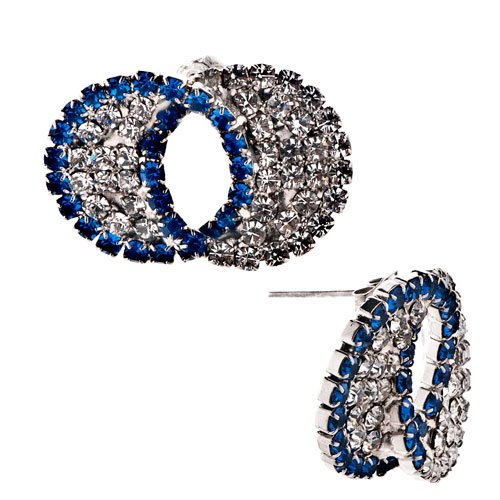 Pugster Blue White Circle Crystal Re Stud Earrings
