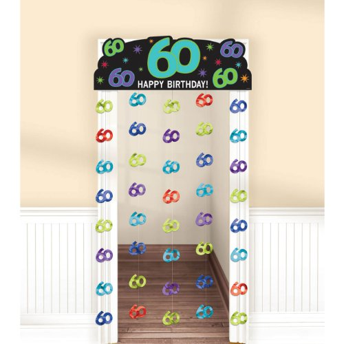"Amscan 60th Celebration Theme Charming Doorway Curtain, Blue/Purple/Cyan/Red/Green, 77"" x 39"""
