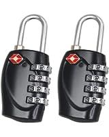 TRIXES 2 cadenas noirs certifiés TSA à combinaison 4 chiffres de voyage pour valises