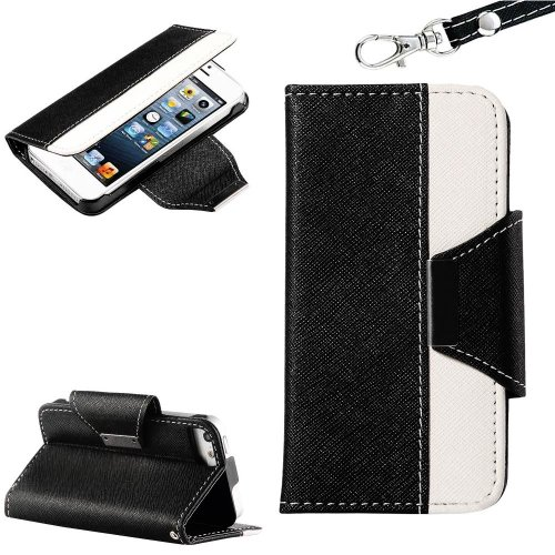 Mylife (Tm) Black And White Style Design - Textured Koskin Faux Leather (Card And Id Holder + Magnetic Detachable Closing) Slim Wallet For Iphone 5/5S (5G) 5Th Generation Itouch Smartphone By Apple (External Rugged Synthetic Leather With Magnetic Clip + I