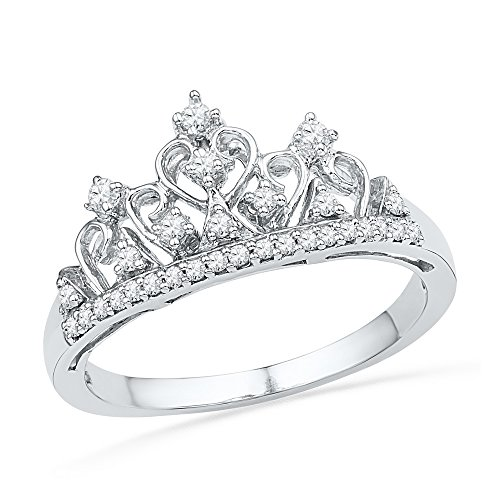 Roy Rose Jewelry 1/5-Carat tw Diamond Crown Tiara Design Ring 10K White Gold