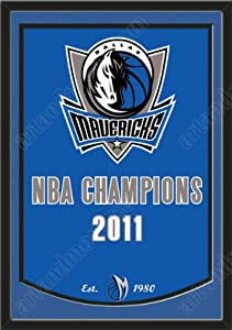 Dynasty Banner Of Dallas Mavericks With Team Color Double Matting-Framed Awesome... by Art and More, Davenport, IA