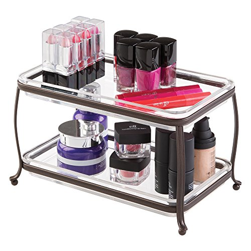 mDesign Traditional Fashion Jewelry and Cosmetic Organizer Tray for Bathroom Vanity Countertops - 2 Tiers, Bronze/Clear (Vanity Tray Bronze compare prices)
