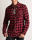 (バレッタ) Valletta ネルチェックシャツ 長袖 起毛 あたたかい腰巻き 肩掛け メンズ カジュアル ストリート アメカジ Mサイズ 2ブロックレッド