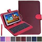 """HDE Universal 7"""" Tablet Case with Micro USB Keyboard with Stylus Bundle Diamond Stitch Hard Leather Cover (Red)"""