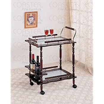 Coaster Home Furnishings 910010 Traditional Serving Cart, Cherry