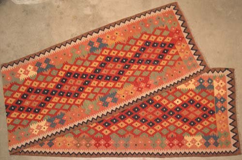Hand-woven Maimana Kilim Oriental Area Rug Runner 12'5