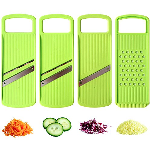 Mandoline Slicer - Food Slicer - Vegetable Slicer - Julienne Slicer - Premium Stainless Steel Blades - Food Safe Plastic - Compact, Lightweight & Versatile - Healthy Meals
