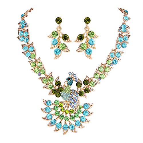 EVER FAITH Gold-Tone Peacock Feather Necklace Earrings Set Green Blue Austrian C…