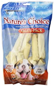 Loving Pets Nature's Choice 100-Percent Natural Rawhide White Retriever Rolls Dog Treat, 4-Inch, 13/Pack