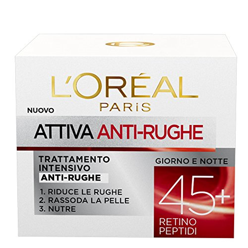 L'Oréal Paris Attiva Antirughe Crema Viso Intensivo Anti-Rughe, 50 ml