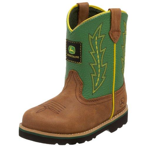John Deere 1186 Western Boot (Toddler),Tan/Green,4 M Us Toddler front-341599