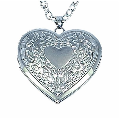 Toc Silver Plated Heart Locket Pendant on an 18 Inch Chain