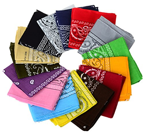 Pinksee Unisex 12-Pack Kerchief Paisley Bandana Cotton Soft Neck Scarf Womens Kerchief