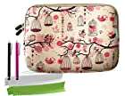 ColorYourLife Bundle of Free Birds Printed Sleeve Case Bag for iPad 2/3/4 Samsung GALAXY Note 10.1 (2014 Edition) and 10-inch Tablet with 2 Stylus Pens and Microfiber Cleaning Cloths (Pink birdcage, 10 inch)