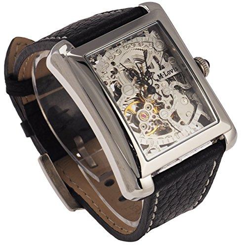 Skelett Armbanduhr Herren, Automatik Uhrwerk, Lederarmband in Schwarz