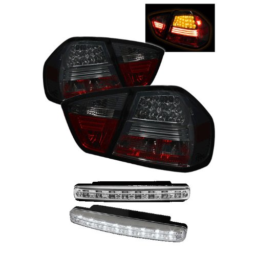 Carpart4U Bmw E90 3-Series 4Dr Led Smoke Tail Lights & Led Day Time Running Light Package