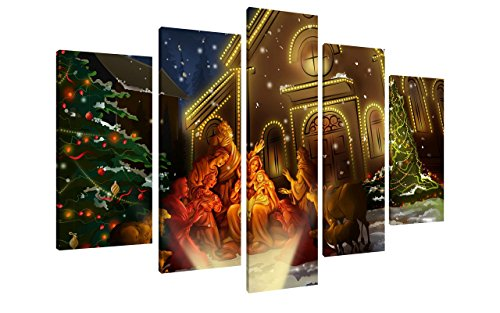 NAN Wind 5Pcs Modern Giclee Canvas Prints Beautiful Christmas Eve Jesus Christian Birth Wall Art Colorful Scenery Poster Paintings on Canvas Stretched and Framed Ready to Hang for Home Decor