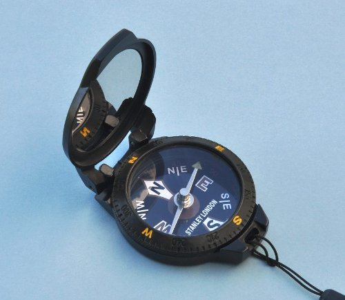 Black Pocket Compass with Mirror and Lanyard