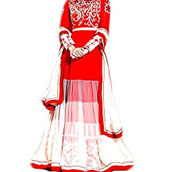 Reet Glamour Women 's Georgette Unstitched Red And White Georgette Anarkali Suit