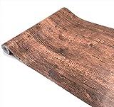 簡単 模様替え 壁紙 貼付シールタイプ 45cm×10m ウォールステッカー 防水 【貼り方説明書付】 (木目03)