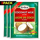 Grace Dry Coconut Milk Powder - 3 pack - No Preservatives No Refrigeration - Just Add Water - Milk Substitute - Coffee Creamer, Smoothies, Baking, Camping, Curries - Bonus Recipe eBook - 1.76 oz