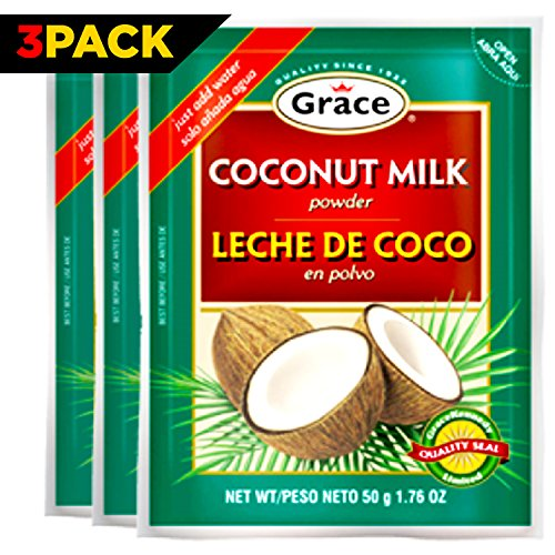 Grace Dry Coconut Milk Powder - 3 pack - No Preservatives No Refrigeration - Just Add Water - Milk Substitute - Coffee Creamer, Smoothies, Baking, Camping, Curries - Bonus Recipe eBook - 1.76 oz (Dehydrated Coffee compare prices)