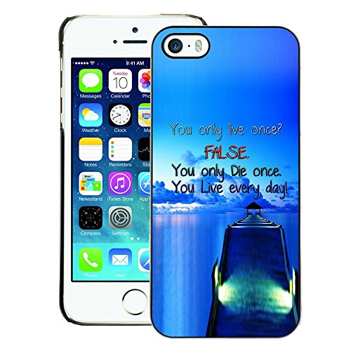 A-type Colorful Printed Hard Protective Back Case Cover Shell Skin for iPhone 5 / 5S ( Dock False Blue Live Die Ship Sea Ocean)