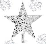 【crecer】 クリスマスツリー 星 の 飾り オーナメント 素材 おしゃれな クリスマス トップスター 雪の飾り 付き (シルバー)
