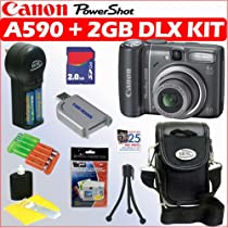 Canon Powershot A590 IS 8.0 MP Digital Camera (Color: Black, #2462B001) with 4x Optical Zoom, and 2GB Secure Digital Deluxe Accessory Kit