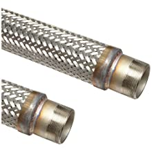 "Unisource SF21 Stainless Steel Flexible Metal Hose Assembly, 1-1/2"" Stainless Steel NPT Male Connection, 472 PSI Maximum Pressure, 36"" Length, 1-1/2"" ID"